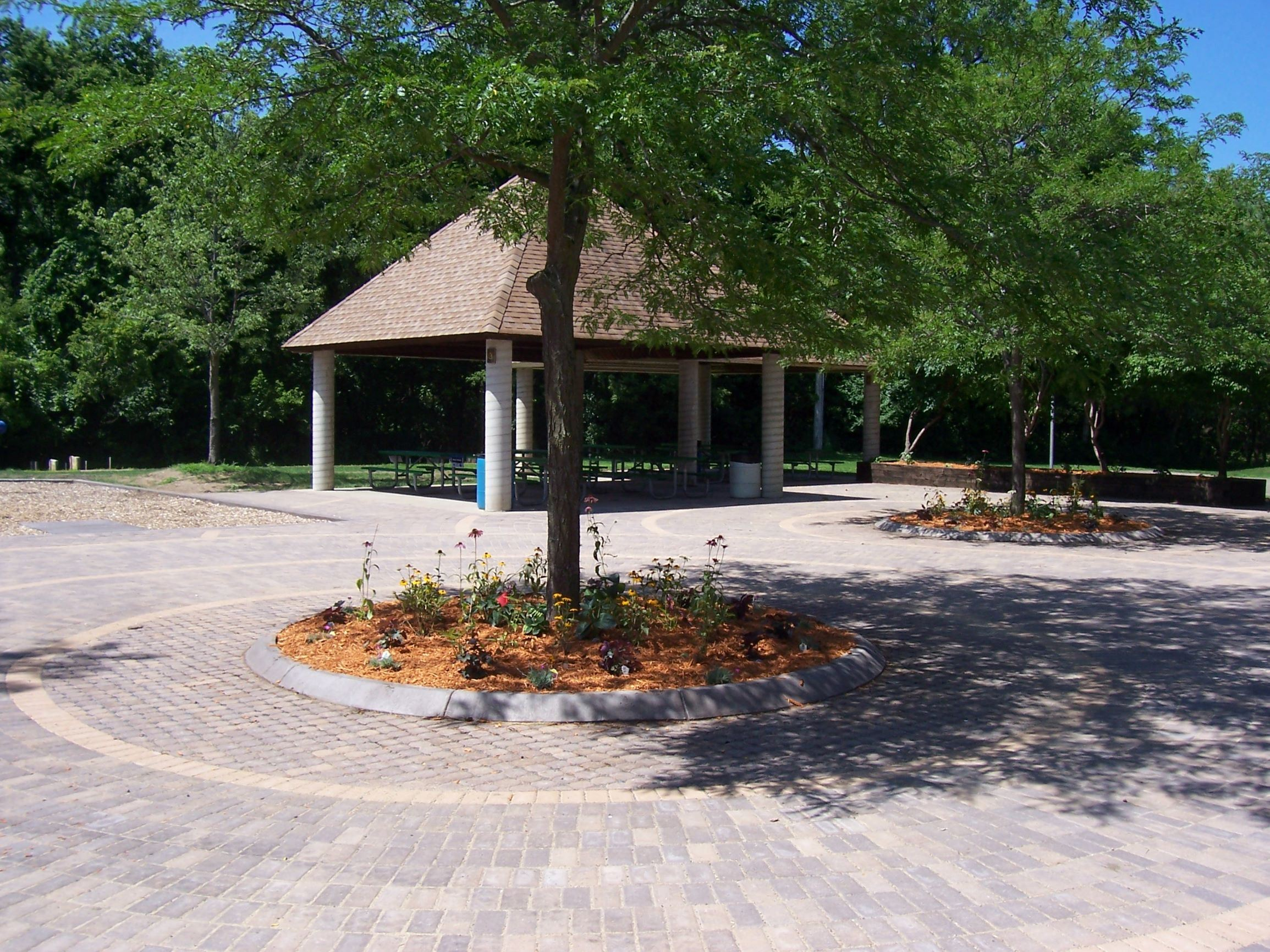Mississippi River Community Park shelters and plaza